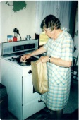 Mom frying chicken  2004